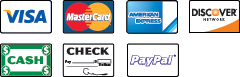 We Accept Visa, MasterCard, American Express, Discover, Cash, Checks and Paypal.